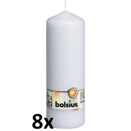 8 stuks witte stompkaarsen 200/70 van Bolsius extra goedkoop in een voordeel verpakking