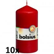 10 stuks rood stompkaarsen 120/60 van Bolsius extra goedkoop in een voordeel verpakking