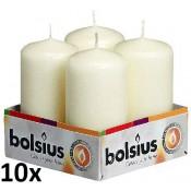 10 Trays/sets met 4 stuks ivoor stompkaarsen 100/50 van Bolsius
