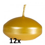 12 stuks goud metallic gelakte drijfkaarsen set (4 uur)