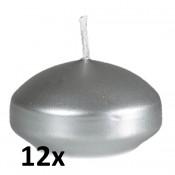 Zilveren gelakte Drijfkaarsen set van 12