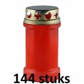 144 stuks graflichten rood nummer 3 met deksels
