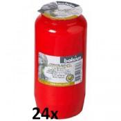 24 stuks rode Bolsius graflichten nr. 7 in een voordeel verpakking