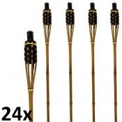 Zwart met bruine bamboe fakkels lengte 120 cm verpakt per 24 stuks