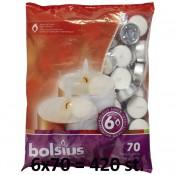 420 stuks witte 6 uur waxinelichtjes 21/38 Bolsius ( 6 zakken met 70 stuks )