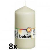 8 stuks ivoor stompkaarsen 130/70 van Bolsius extra goedkoop in een voordeel verpakking
