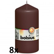 8 stuks bruin stompkaarsen 130/70 van Bolsius extra goedkoop in een voordeel verpakking