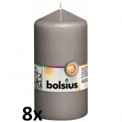 8 stuks grijs stompkaarsen 130/70 van Bolsius extra goedkoop in een voordeel verpakking