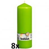8 stuks lime stompkaarsen 200/70 van Bolsius extra goedkoop in een voordeel verpakking