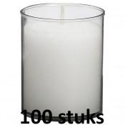 100 stuks Bolsius 30 uurs relight kaars in doorzichtig kunststof kaarsenhouder