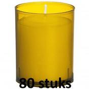 80 stuks Bolsius relight kaars in amber kunststof kaarsenhouder