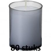 80 stuks Bolsius relight kaars in grijs kunststof kaarsenhouder