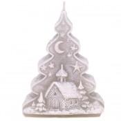 Grijze Kerstboom Figuurkaars 125/90/50 (20 uur)