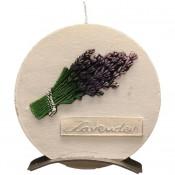 Witte lavendel provence ronde schijfkaars 150/145/12 op standaard (5 uur)