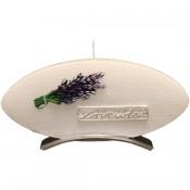 Witte lavendel provence ovale schijfkaars 90/185/12 op standaard (4uur)