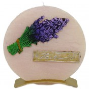Beige lavendel provence ronde schijfkaars 150/145/12 op standaard (5 uur)