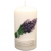 Witte lavendel provence stompkaars 150/80 (75uur)