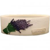 Witte lavendel provence ovale wax windlicht 95/270/125 (incl. 2 stuks 3 uurs theelichten)