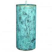 Turquoise loft rustiek stompkaars 150/70