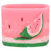 Watermeloen geurend vierkante wax windlicht 95/130/130 (incl. 1 stuk 3 uurs theelicht)