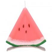 Watermeloen punt - schijf geurkaars 130/125/12 op standaard (4 uur)