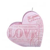 Roze LOVE letter hart kaars 135/135/40 (40 uur)