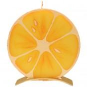 Sinaasappel ronde geurkaars 150/145/12 op standaard (5 uur)