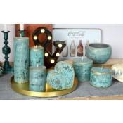 Turquoise loft rustiek stompkaars 100/100 (83 uur)