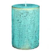 Turquoise loft rustiek stompkaars 100/70